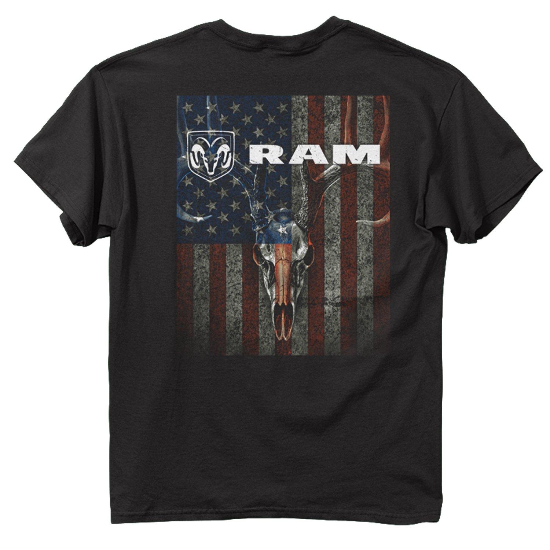 Buck Wear Men's Ram Skull and Stripes Cotton T-Shirt