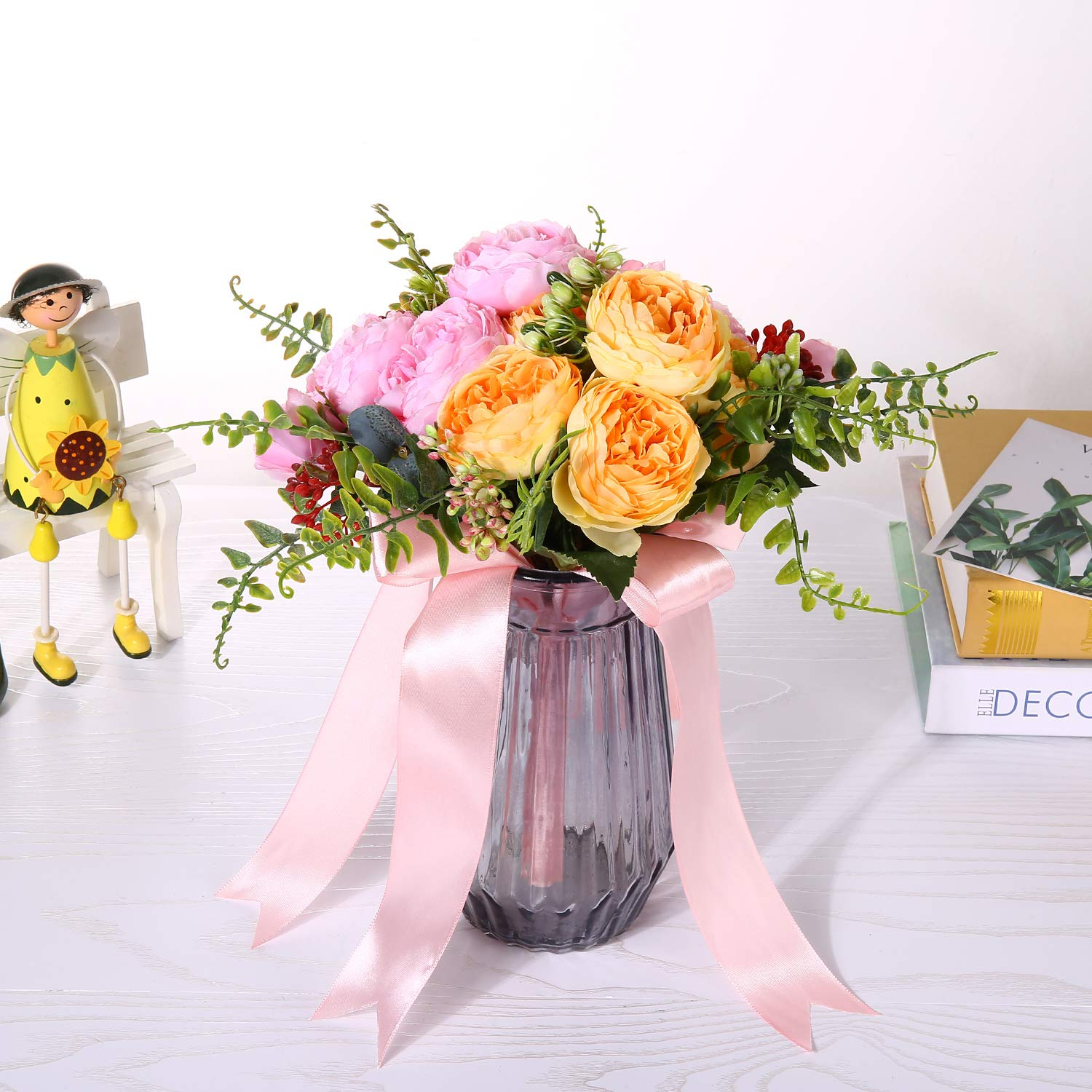 YAMUDA Bridesmaid Bridal Bouquet Artificial Rose Flower Centerpieces for Tables Wedding Arch Front Door Wall Decor(Yellow Mix)