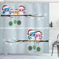 """Ambesonne Christmas Shower Curtain, Cloth Fabric Bathroom Decor Set with Hooks, Branch Winter Night, 84"""" Long Extra"""