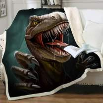 """Sleepwish Sherpa Throw Blanket for Couch Sofa and Chair, Boys Dinosaur Blankets and Throws Super Soft Reversible Cozy and Plush (T-Rex Teeth,Queen 90"""" X 90"""")"""