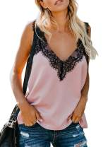ROSKIKI Women's Summer Casual V Neck Lace Cami Tank Tops Fashion Strappy Sleeveless Blouses and Shirts