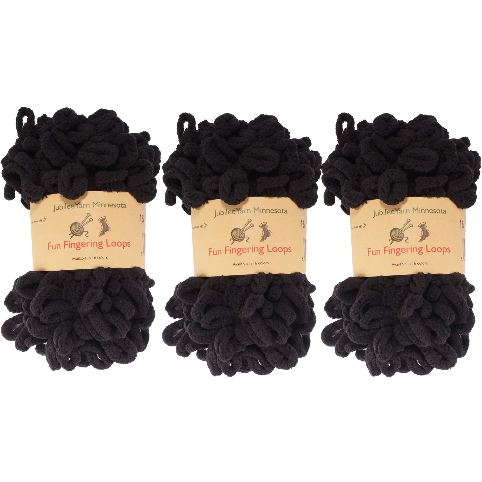 BambooMN Finger Knitting Yarn - Fun Finger Loops Yarn - 100% Polyester - Black - 3 Skeins