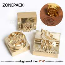 "ZONEPACK Custom Logo Hot Foil Stamping Brass Mold Branding Iron Wood Burning Stamp Heating for Leather Wood Paper (Small Than 4''x4'' Engraving Depth 0.31"" (8mm))"