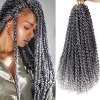 7 Packs Passion Twist Hair 18 Inch Water Wave Synthetic Braids for Passion Twist Crochet Braiding Hair Goddess Locs Long Bohemian Locs Hair (22Strands/Pack, T1b/gray#)