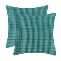 BRAWARM Pack of 2 Cozy Throw Pillow Covers Cases for Couch Sofa Home Decoration Supersoft Corduroy Corn Striped with Piping Both Sides 16 X 16 Inches Teal