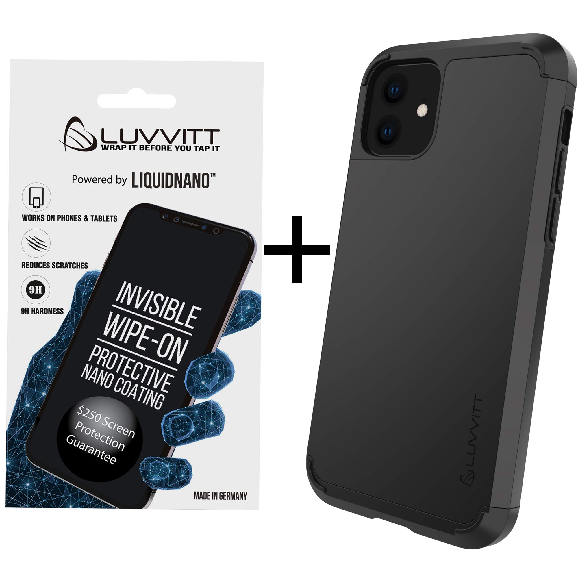 Luvvitt $250 Screen Replacement Guarantee Ultra Armor Case and Liquid Glass Screen Protector Bundle for iPhone 11 XI with 6.1 inch Screen 2019 - Black