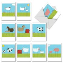 10 Farm Animal 'Stick Legs' Thank You Cards with Envelopes 4 x 5.12 inch, Illustrations of Farm Animals with Stick Legs, Boxed Thank You Note Cards, Bulk Set of Note Cards M6656TYG