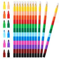 Leinuosen 12 Pieces Stacking Crayons Buildable Crayons Colorful Crayon for Kids School Office Supplies, 12 Colors