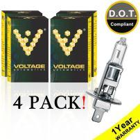 Voltage Automotive H1 Standard Headlight Bulb (4 Pack) - OEM Replacement Halogen High Beam Low Beam Fog Lights