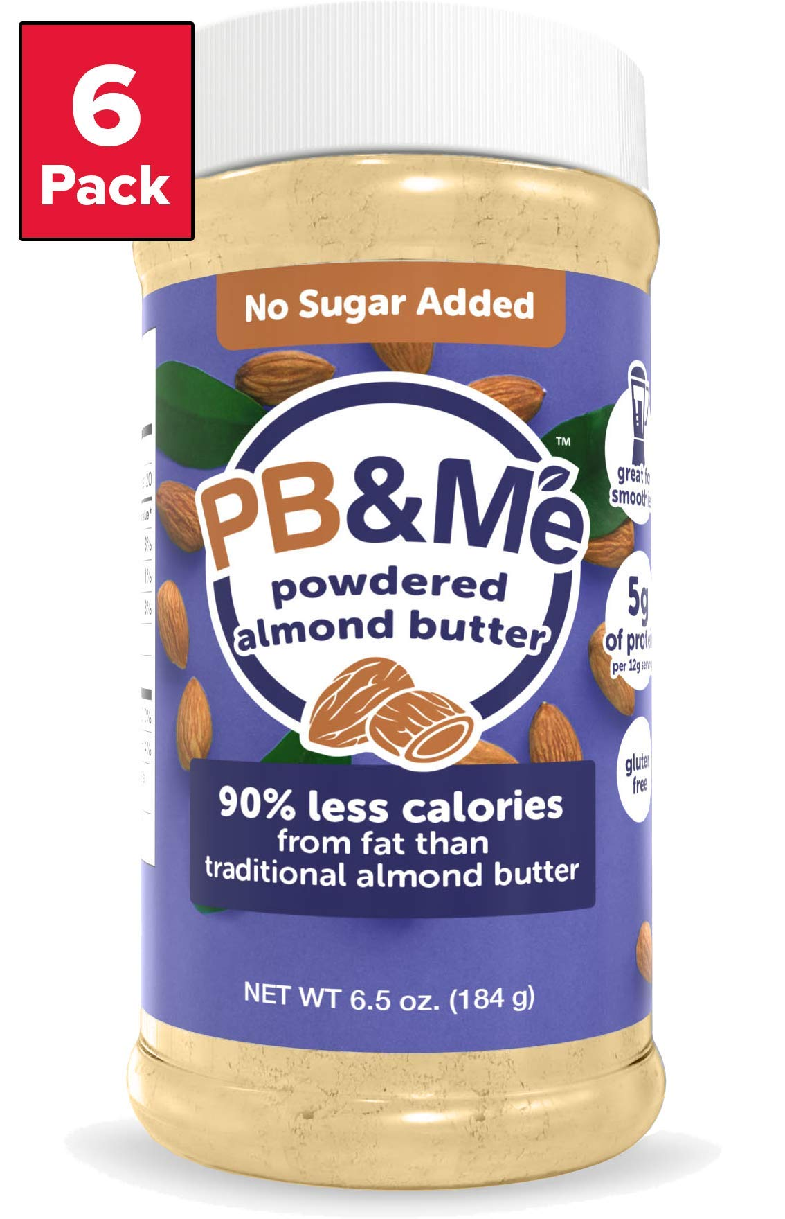 PB&Me Powdered Almond Butter, Keto Snack, Gluten Free, Plant Protein, No Sugar Added, 6.5 Ounce, 6 Count