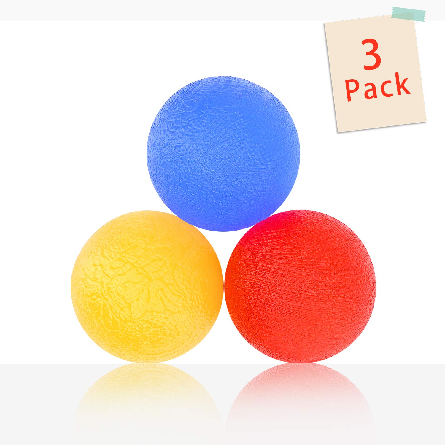 3 Pack Stress Relief Ball for Adult Anxiety and Sensory Toys for Kids Fidget - Gel Squishy Balls for ADHD,Autism - Hand Exercise Balls with 3 Levels Squeeze Resistance for Grip Strength Trainer