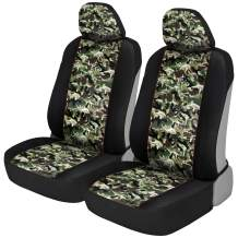 BDK Green Camo Print Car Seat Covers, Front Seats Only – Camouflage Pattern Front Seat Cover Set with Matching Headrest, Sideless Design for Easy Installation, Universal Fit for Car Truck Van and SUV