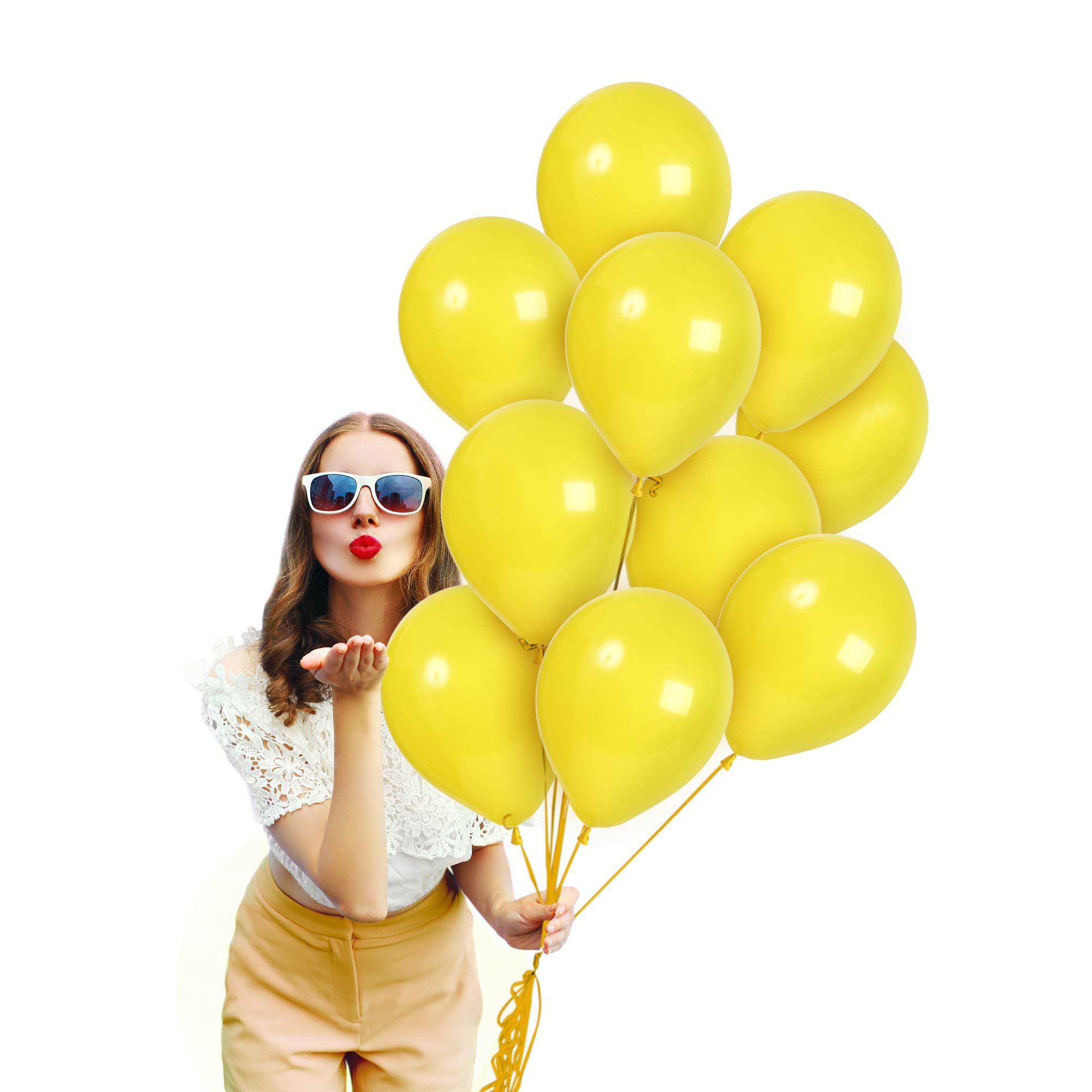 Treasures Gifted Solid Bright Yellow Balloon Garland 72 Pack 12 Inch Premium Quality Balloon for Mardi Gras Party Bumble Bee Baby Showers Birthday Topical Lemon Fiestas Party Supplies