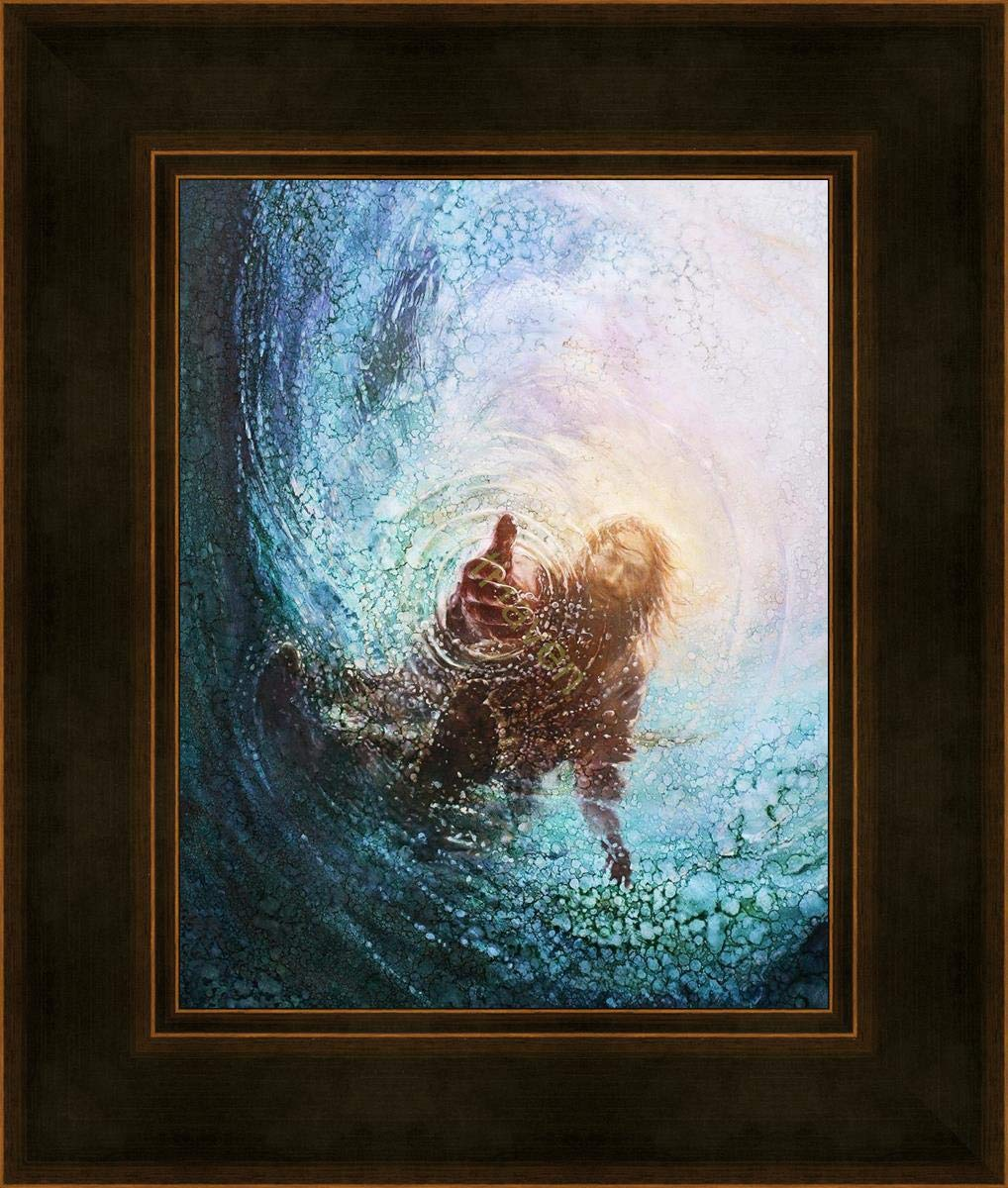 """Havenlight Yongsung Kim - The Hand of God Painting - Jesus Reaching Into Water - 16"""" x 20"""" Brown Framed Print from"""