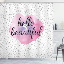 """Ambesonne Hello Shower Curtain, Words Watercolor Flower Pattern and Celebration Background, Cloth Fabric Bathroom Decor Set with Hooks, 75"""" Long, Pale Pink"""