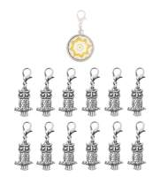 Mandala Crafts Clip On Charms with Lobster Clasp for Bracelet, Necklace, DIY Jewelry Making; Silver Tone, 12 Assorted PCs