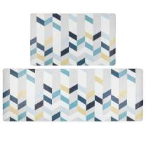SHACOS Anti Fatigue Kitchen Floor Mat Set of 2 Comfort Mat 10mm Thick PVC Foam Cushioned Comfort Mats Kitchen Rug Waterproof Non Slip Wipe Clean (Blue White, 18x30+18x47 Inches)