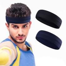 YOSUNPING Mens Headband Non Slip Mens Sweatband & Sports Headband Moisture Wicking Workout Sweatbands