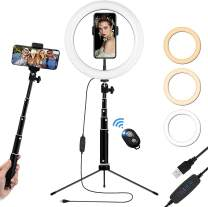 10 inch Ring Light with Stand and Phone Holder, Height Adjustable Desk Tripod Selfie Stick Circle Light with Remote Lighting for iPhone Video Streaming, TikTok, Zoom Meeting