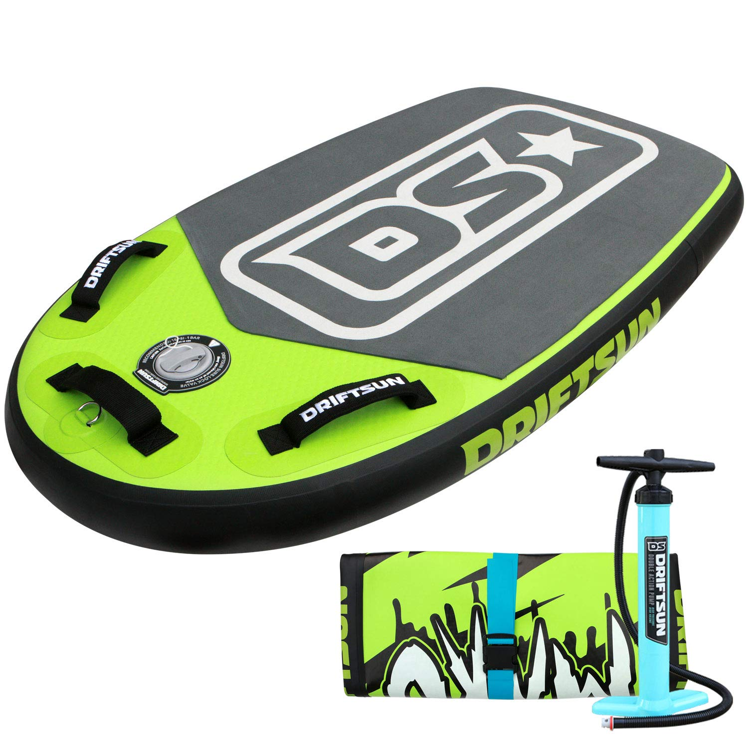 "Driftsun Mako Inflatable Bodyboard Package - Portable Bodyboard with RigidAir Drop Stitch Technology, Available in Green and Blue, 42"" x 25"""
