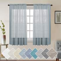 Turquoize Rod Pocket Sheers Curtain Rich Quality Linen Look Curtains Linen Sheer Curtains 63 Inches Long Pair Natural Linen Blended Window Treatment Panels Semi Sheer Panel, Teal,Set of 2