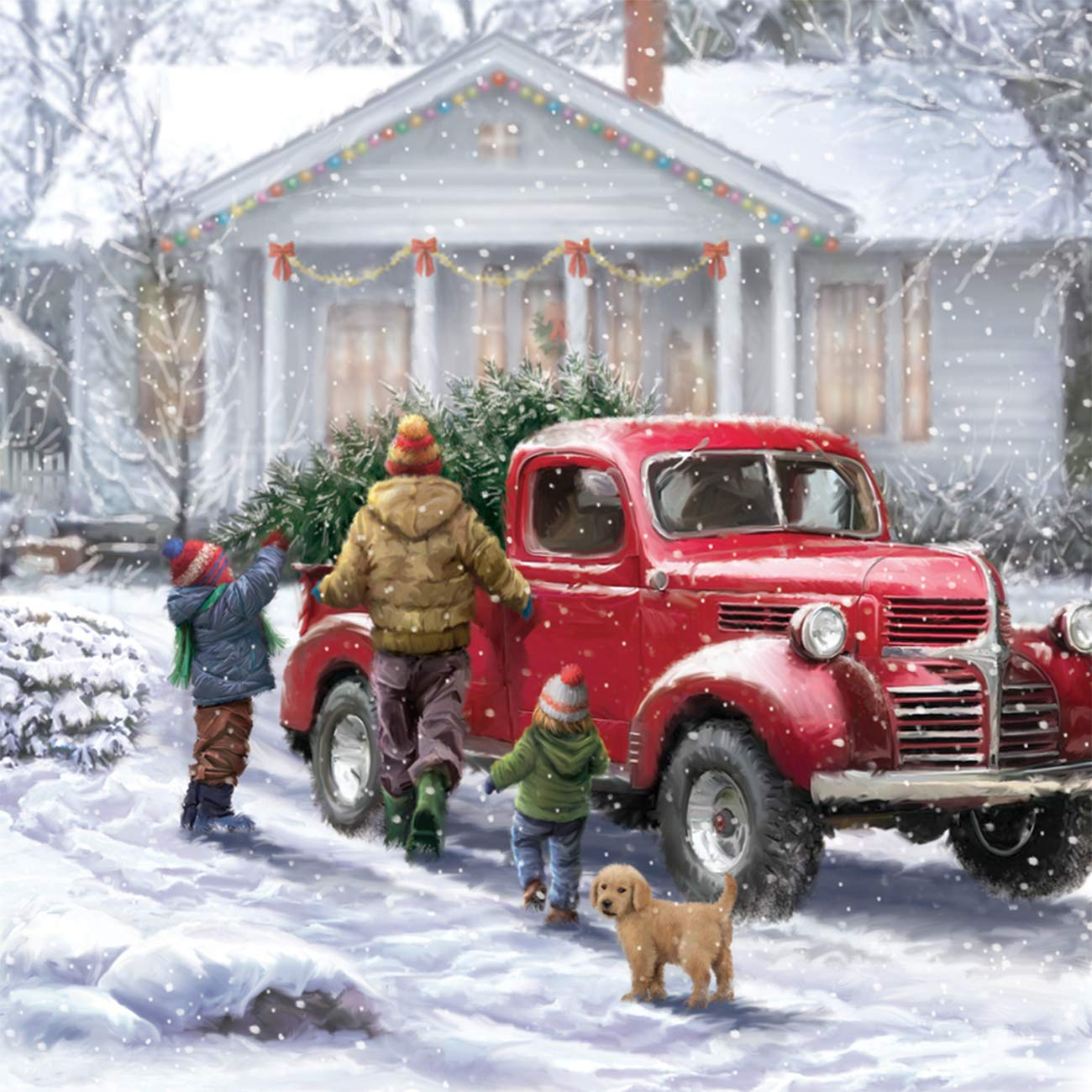 5d Diamond Painting The Christmas Tree Truck And The Dog Full Drill By Number Kits Skryuie Diy Rhinestone Pasted Paint With Diamond Set Arts Craft Decorations 14x14inch