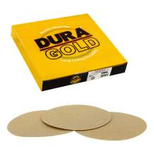 """Dura-Gold - Premium - 80 Grit 8"""" Gold PSA Self Adhesive Stickyback Sanding Discs for DA Sanders - Box of 10 Sandpaper Finishing Discs for Automotive and Woodworking"""