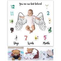 Angel Wings Monthly Baby Milestone Blanket Photography Props, Super Soft Comfy Fabric, for Growing Infants & Toddlers EAGE097