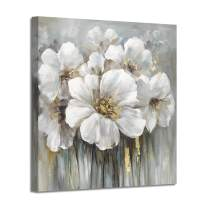 "Wall Art Floral Canvas Pictures: White Lily Abstract Flower Print on Canvas Artwork for Office Dining Rooms (24""x24""x1 Panel)"