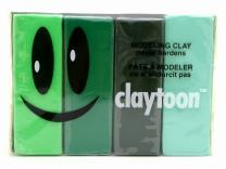 Van Aken International – Claytoon – Non-Hardening Modeling Clay – VA18155 – Lush – neon Green, Green, Dark Green, Pastel Green – 1 Pound Set (4-1/4 Pound Bars) – claymation, Gluten-Free, Non-Toxic