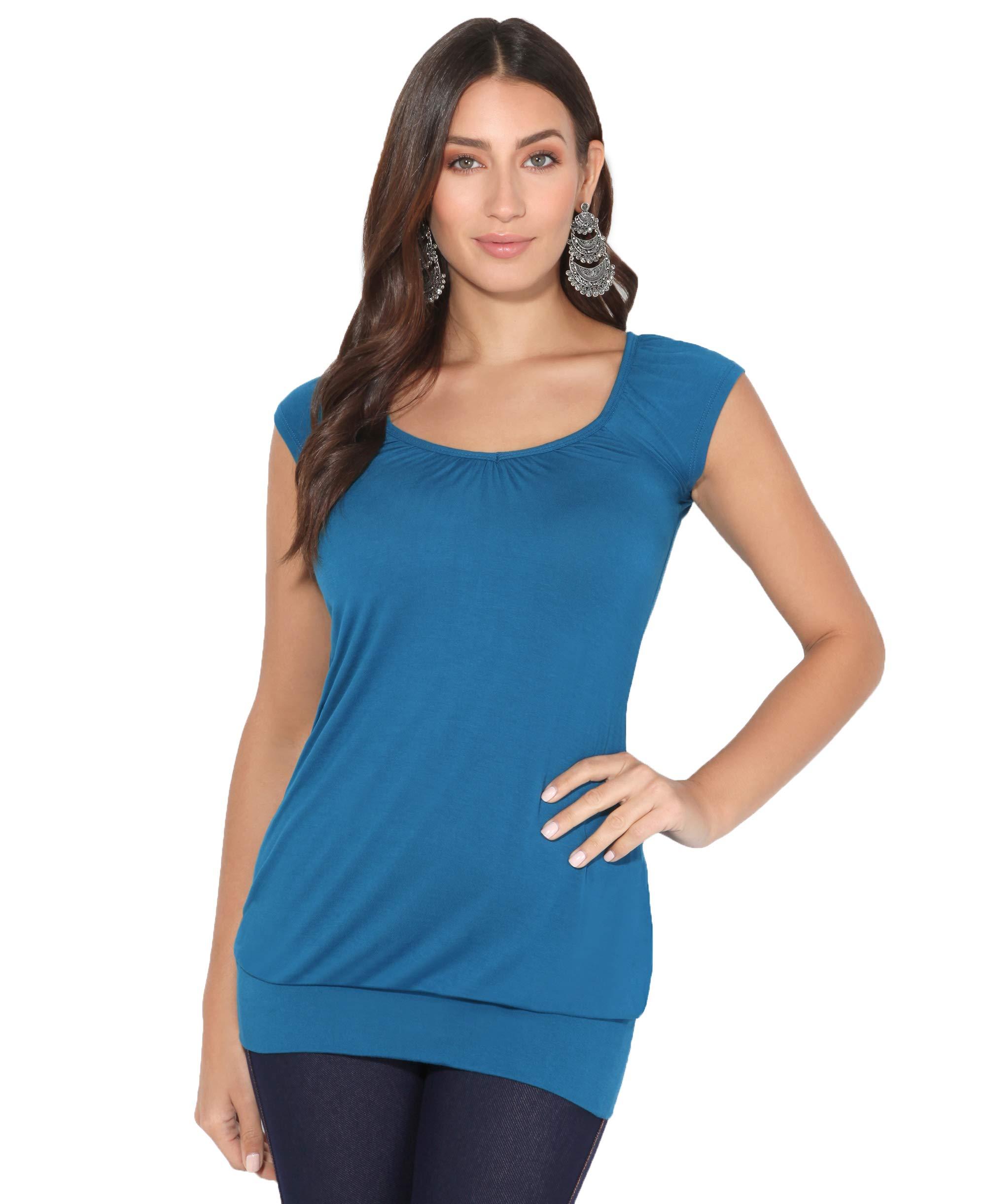 KRISP Womens Loose T-Shirt Long Top Casual Short Sleeve Banded Hem Plus Size Tunic Top V-Neck