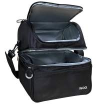 IGOGI Double Deck Lunch Bag For Men Women Adult Insulated Lunch Box Large Waterproof Cooler Insulated Tote Bag(Black)