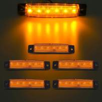 "Partsam 5X 3.8"" Truck Bus Boat Trailer Side Marker Indicators Light Lamp Amber 6LED, Amber Trailer Marker Lights, Rear Side Marker Lamp Amber, Led Marker Lights for Trucks, RV Marker light Yellow"