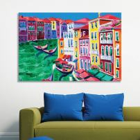 """wall26 Canvas Wall Art of Colorful Oil Painting of a Village Canal   12"""" x 18"""""""
