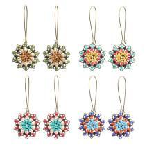 4 Pairs Bohemian Vintage Dangle Earrings Retro Rhinestone Earrings Boho Geometric Copper Wire Dangle Drop Earrings for Women Girls