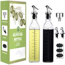 TKS [2 PACK] 17oz Glass Olive Oil Dispenser Bottle - 500ml Clear -Oil & Vinegar Cruet with Labels 、Pourers and Funnel - Olive Oil Carafe Decanter for Kitchen(Lead-Free)