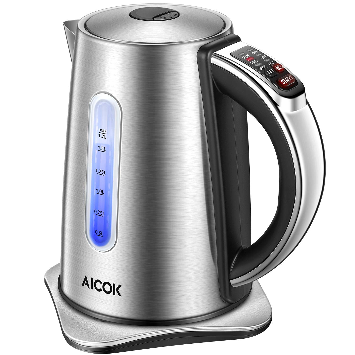 Electric kettle, Aicok Temperature Control kettle with 2 Hours Keep Warm Function, 1.7L Food Grade Stainless Steel Water Kettle, Double Water Indicator, BPA Free, 1500W