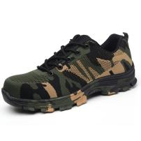 YING LAN Mens Fashion Camo Steel Toe Work Safety Shoes Mesh Breathable Industrial Construction Puncture Proof Footwear