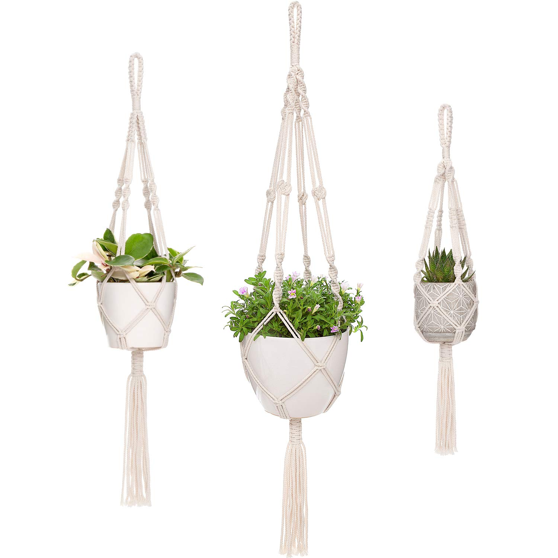 Mkono Macrame Plant Hangers, 3 Different Sizes Indoor Hanging Planters Basket Decorative Flower Pots Holder Stand Boho Home Decor