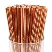 Just Artifacts 100pcs Premium Biodegradable Solid Paper Straws (Solid, Metallic Rose Gold)