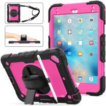 SEYMAC stock iPad Mini 4/5 Case, [Full-Body] Drop Proof Hybrid Armor Case with 360 Rotating Stand [Pencil Holder][Screen Protector] Hand Strap for iPad Mini 5th/4th Generation 7.9'(Rose+Black)