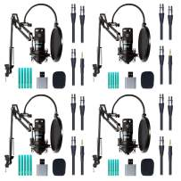 Movo 4-Pack Universal XLR Condenser Microphone Podcast Equipment Bundle for 4- Includes Cardioid Mics, Desk Mount Stands, Shock Mounts, Pop Filters and Cables for Zoom, Laptop, Phone-Good for podcasts