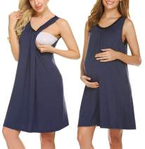 Ekouaer Women's Maternity Dress Nursing Nightgown for Breastfeeding Nightshirt Sleepwear Navy Blue