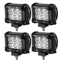 "18W CREE LED Work Light Bar, 4Pcs 4"" Flood Beam 60 degree Waterproof for Off-road Car ATV SUV Jeep Boat"