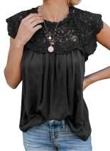 Asvivid Womens Casual Lace Crochet Sleeveless Chiffon Blouses Loose Pleated Summer Shirt Flowy Tank Tops