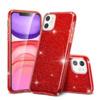 """ESR Glitter Case Compatible for iPhone 11 Case, Glitter Sparkle Bling Case [Three Layer] for Women [Supports Wireless Charging] for iPhone 11 6.1"""" (2019), Red"""