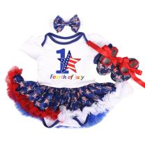 WINZIK 1st 4th of July Baby Girls 3pcs Outfits Set Stars Print Independence Day Romper Bodysuit Tutu Dress Headwear Shoes