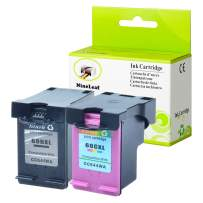 NineLeaf Remanufactured High Yield Ink Cartridge Compatible for HP 60XL 60 XL CC641WN CC644WN Photosmart C4680 D110 Deskjet D2680 F2430 Printer Show Accurate Ink Level (1 Black 1 Tri-Color,2 Pack)