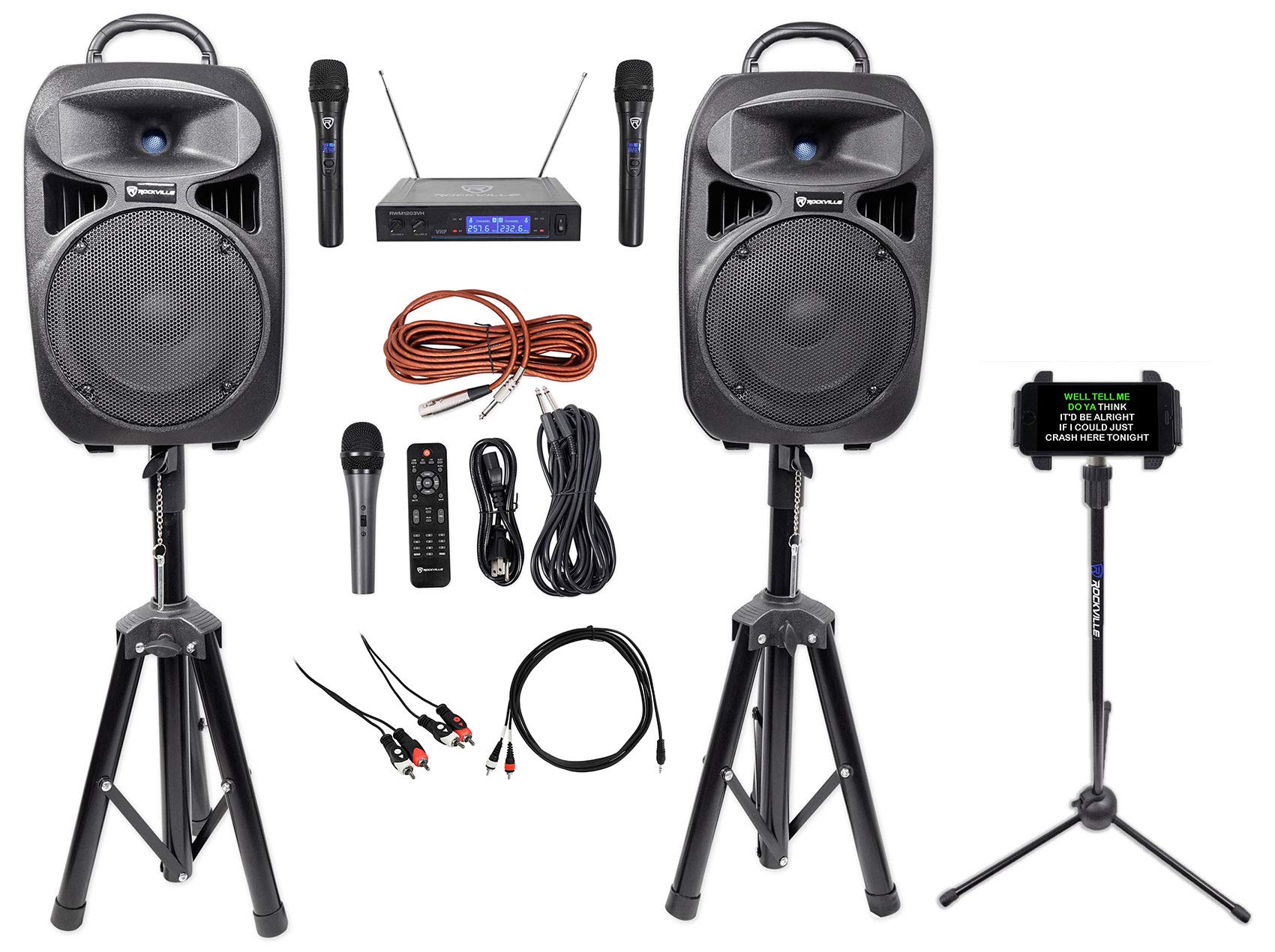"Rockville 8"" iPhone/ipad/Laptop/TV Karaoke Machine/System+Wireless Mics+Stand"