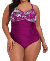 Womens Plus Size One Piece Swimsuits Floral Tummy Control Swimwear Bathing Suits Ruched Monokini